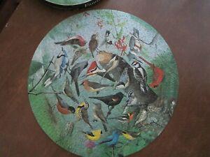 Vintage SPRINGBOK CIRCULAR Round Puzzle FAMILIAR BIRDS Complete W. Dilger 1972