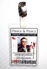 American Psycho Patrick Bateman ID Badge Pierce Horror Cosplay Costume Christmas