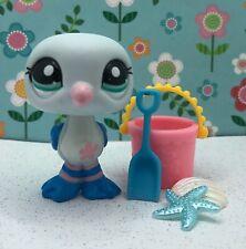 Authentic Littlest Pet Shop # 2269 Blue Pink Striped Seagull Flower Green Eyes
