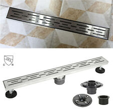 "48"" Shower Linear Drain Square Checker Threaded Adapter Adjustable Leveling Feet"