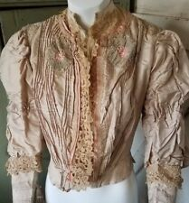 Antique Victorian Dress Bodice Embroidered Appliques Lace Trim Stunning!