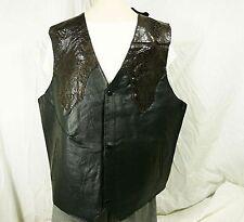 Men XL Black Brown Snake Looking Design Lined Western Motorcycle Vest NWT