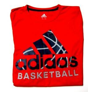 Adidas Climalite Boys Red Large 14/16 Shirt Basketball Short Sleeves