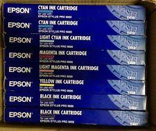 8 x Original Tinte Epson Stylus Pro 9000 / T407 T408 T409 T410 -T412 Cartridges