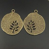Antique Style Bronze Tone Tree Hollow Round Charm Pendants 20pcs