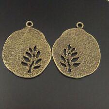 Antique Style Bronze Tone Tree Hollow Round Charm Pendants 20pcs