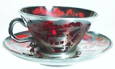 Venetian Demi Cup and Saucer - Ruby glass with Silver Overlay
