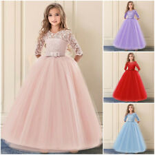 New Long Bridesmaid Wedding Flower Girl Dress Lace Princess Party Kids Clothes