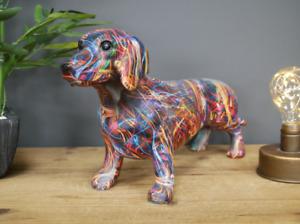 Graffiti Art bright coloured Dachshund ornament figurine Sausage Dog lover gift