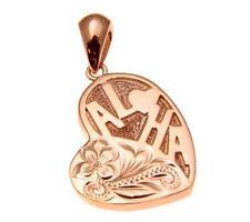 ROSE GOLD PLATED SILVER 925 HAWAIIAN ALOHA PLUMERIA SCROLL HEART PENDANT 16MM