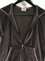 JUICY COUTURE Velour Brown Full Zip Track Hoodie Pink Graphic Logo Jacket Size L
