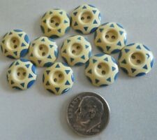 "VTG SET 10 BLUE 6 PT STAR STENCIL EARLY PLASTIC CELLULOID 9/16"" SEW THRU BUTTONS"