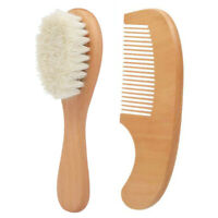 US_ 2Pcs/Set Wooden Baby Bristles Goat Hair Brush Comb Set Gifts for Toddlers