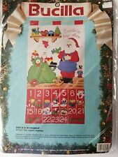 Bucilla Christmas Advent Calendar Santa's Workshop Felt Kit 82852 Santa Toys Bag