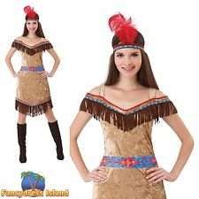 INDIAN NATIVE POCAHONTAS WILD WEST UK 10-14 ladies womens fancy dress costume
