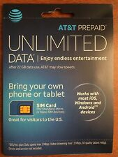 At&T Prepaid Sim Card Android iOs Windows Devices Standard Micro Nano Sim
