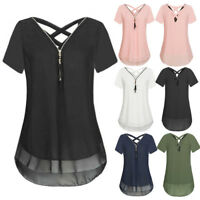 Women Chiffon Short Sleeve Solid Color Tank V-Neck Zipper Hem Scoop T Shirts Top
