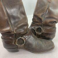 VTG 1960s Brown Leather Biker Cowboy Boots Men 9.5 Strap Ring Ankle Harness Worn