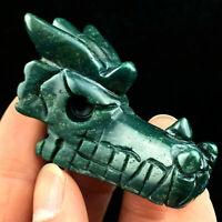 "2"" Natural Indian agate Dragon Skull Quartz Crystal Carved Skull Reiki Healing"