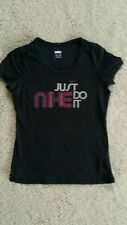 Nike Just Do It Negro T-Shirt Top Sz M 10 - 12 Deportes Gym Correr Yoga bomba