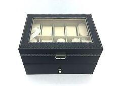 Watch Box Black Vinyl with Beige Suede Lining: 20 Watch Storage (EF03)