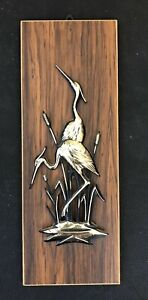 "Vintage Gold & Black painted Metal Egrets mounted on 4"" x 10.5"" wood panel"