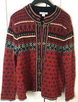 Women's Telluride Clothing Co. 100% Wool Fair Isle Cardigan Sweater Large RED