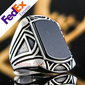 Onyx Stone 925 Sterling Silver Turkish Handmade Men's Ring All Sizes