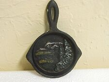 *Vintage* Miniature Cast Iron Skillet featuring Mountains and Trees