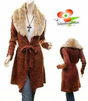 Vintage Faux Fur Knit Open Front Belt Tweed Cardigan Jacket Sweater Coat S M L