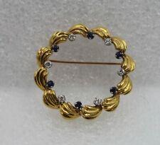 Tiffany & Co 18K Yellow Gold Blue Sapphire Diamond Circle Pin Brooch With Box