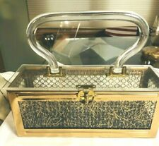 "Vintage Dorset Rex Lucite Handbag Purse ""Net"" Lining & Gold Foil Threads"