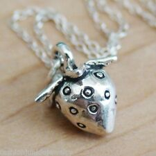 3D Strawberry Charm Necklace - 925 Sterling Silver - Strawberries Food Fruit NEW