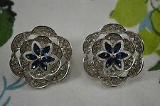 VINTAGE 1960s blue and clear diamante flower earrings clip silver