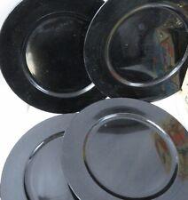 Set of 4 Black Sparkle Round Charger Plates Plastic Dinnerware Serveware