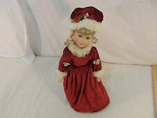 Porcelain Doll Misses Clause Styled Red Velvet Dress Curley Blonde Hair 33077