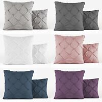 "PINTUCK COTTON CUSHION COVER 18"" X 18"" CUSHIONS BED COVERS 4 PILLOW CASES PAIR"