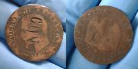 5 centimes Napoléon III Contremarque ° CON ° 1855 w Lille Monnaie Satirique