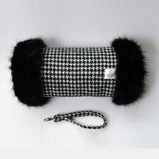 HARRIS TWEED Black Houndstooth Fur Trimmed Hand Muff Warmer Handmade in UK
