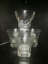 1960's Set of 4 Vtg MCM Ice Texture Rocks Glasses Mad Men Scotch Gin Barware