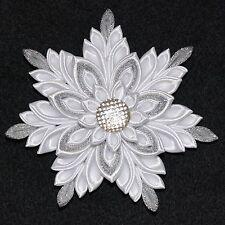 Handmade Girl's White CHRISTMAS Snowflake Hair Clip/Bow, Kanzashi