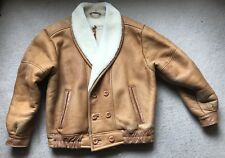 Oakleaf Tan Leather Sheepskin Bomber Style Coat Jacket Medium