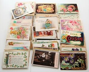 Lot of 156 Vintage Greeting Cards 1907-1925 good or better condition