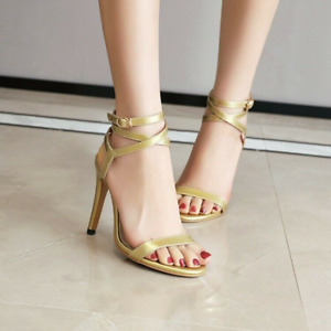 Women High Heel Slingback Sandals Buckle Strappy Open Toe Casual Shoes Sexy