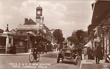 SECR Railway Station Motor Car Tunbridge Wells Kent RP old pc used 1915 EAS