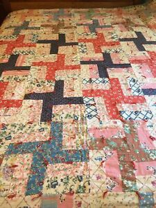 """Vintage 1930's-1940's Homemade Quilt/Tied Comforter of Feedsack Fabric 87"""" X 68"""""""