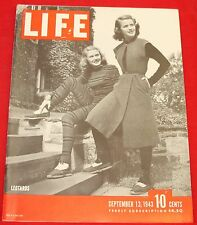 Life Magazine September 13, 1943 Vintage ads GM War Bonds Very Good Condition