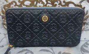 Tory Burch ~ T MONOGRAM Embossed Leather Continental Zip Wallet ~NAVY~NWT $248