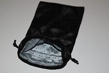 Large Black Velvet Gift Bag Game Dice Bag w/ Grey Velvet Lining Counter Pouch