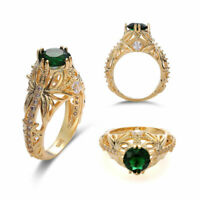 Gemstone Wedding 14k Anniversary Engagement Ring Gold Emerald Women Diamond Ring